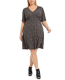 Plus Size Animal-Print A-Line Dress
