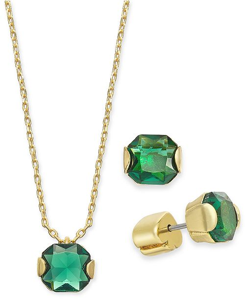 "kate spade new york Gold-Tone Princess-Cut Cubic Zirconia Pendant Necklace & Stud Earrings Set, 16"" + 3"" extender"