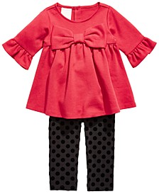 Baby Girls 2-Pc. Ponté-Knit Tunic & Printed Leggings Set, Created For Macy's