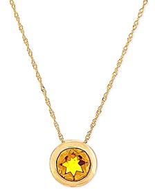 "Rhodolite Garnet Bezel 18"" Pendant Necklace (1-1/2 ct. t.w.) in 14k Gold (Also available in Citrine)"