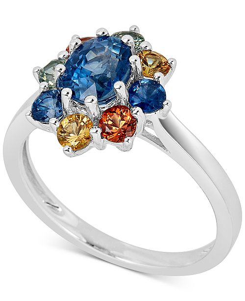 Macy's Multi-Sapphire Cluster Ring (2-1/5 ct. t.w.) in Sterling Silver