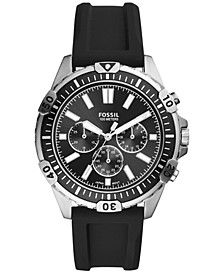 Men's Chronograph Garrett Black Silicone Strap Watch 44mm