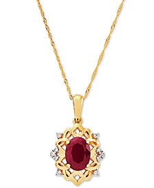 "Certified Ruby (1-5/8 ct. t.w.) & Diamond (1/20 ct. t.w.) 18"" Pendant Necklace in 14k Gold"