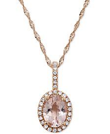 "Morganite (5/8 ct. t.w.) & Diamond (1/10 ct. t.w.) 18"" Pendant Necklace in 14k Rose Gold"
