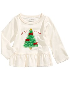 Baby Girls Tulle Tree-Print Peplum T-Shirt, Created For Macy's