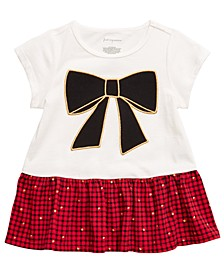 Baby Girls Cotton Bow Plaid Peplum T-Shirt, Created For Macy's