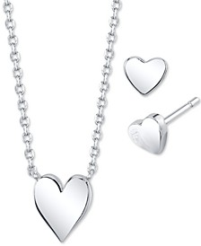 2-Pc. Set Mini Heart Pendant Necklace & Matching Stud Earrings in Fine Silver-Plate, Created for Macy's
