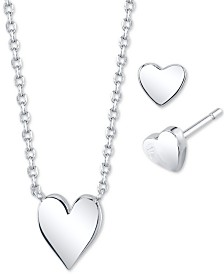 Unwritten 2-Pc. Set Heart Pendant Necklace & Matching Stud Earrings in Fine Silver-Plate, Created For Macy's