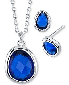 Unwritten 2-Pc. Set Birthstone Crystal Pendant Necklace & Stud Earrings in Fine Silver-Plate, Created For Macy's