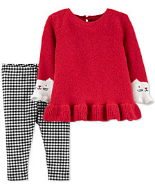 Carter's Baby Girls 2-Pc. Kitty Sweater & Gingham Leggings Set