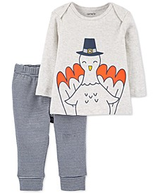 Baby Boys 2-Pc. Cotton Turkey T-Shirt & Striped Pants Set