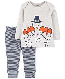 Baby Boys 2-Pc. Cotton Turkey T-Shirt & Striped Pants Set
