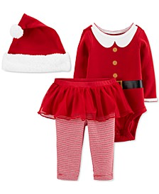 Baby Girls 3-Pc. Santa Hat, Bodysuit & Tutu Pants Set