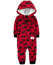Baby Boys Hooded Woodland-Print Fleece Jumpsuit