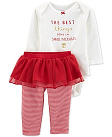 Baby Girls 2-Pc. Holiday Bodysuit & Tutu Pants Set