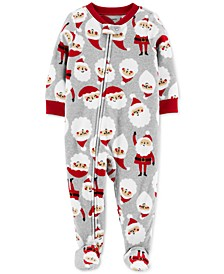 Baby Boys Footed Fleece Santa Baby Pajamas