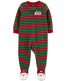 Toddler Boys 1-Pc. Fleece Footed Always Nice Santa Pajama