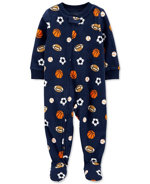 Carter's Toddler Boys 1-Pc. Sports Fleece Footie Pajamas