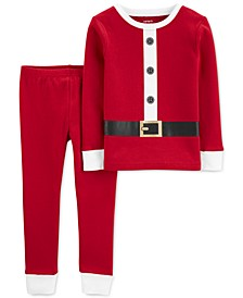 Baby Boys & Girls 2-Pc. Cotton Santa Pajama Set