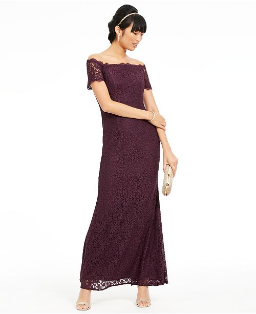 Adrianna Papell Off-The-Shoulder Lace Gown