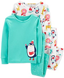Baby Girls 4-Pc. Cotton Penguin Pajamas Set