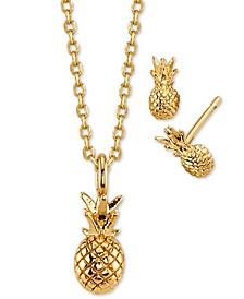 2-Pc. Set Pineapple Pendant Necklace & Stud Earrings in Gold-Tone, Created For Macy's