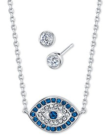 Unwritten 2-Pc. Set Cubic Zirconia Evil-Eye Pendant Necklace & Stud Earrings in Fine Silver-Plate, Created For Macy's
