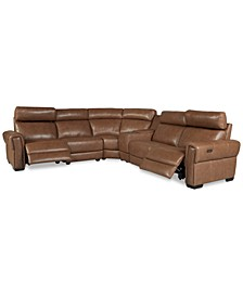 Josephia 6-Pc. Leather Sectional with 2 Power Recliners and Console, Created For Macy's