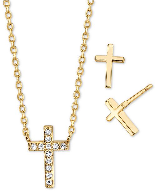 Unwritten 2-Pc. Set Cubic Zirconia Mini Cross Pendant Necklace & Stud Earrings in Gold-Tone, Created for Macy's
