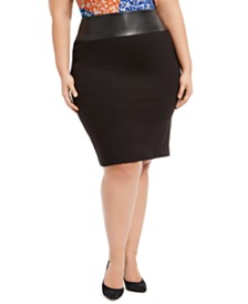 Calvin Klein Plus Size Faux-Leather-Trim Pencil Skirt