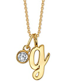 "Initial & Cubic Zirconia Charm Pendant Necklace in Gold-Tone Fine Silver-Plate, 16"" + 2"" extender"