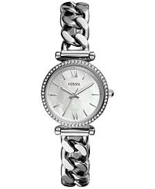 Fossil Women's Mini Carlie Stainless Steel Chain Bracelet Watch 28mm