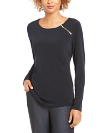 Calvin Klein Zipper-Trim Top