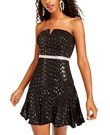Juniors' Sequined Strapless Fit & Flare Dress