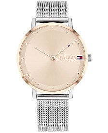 Tommy Hilfiger Women's Stainless Steel Mesh Bracelet Watch 35mm, Created For Macy's