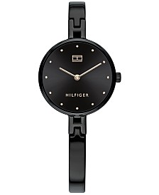 Tommy Hilfiger Women's Black Stainless Steel Bangle Bracelet Watch 26mm, Created For Macy's