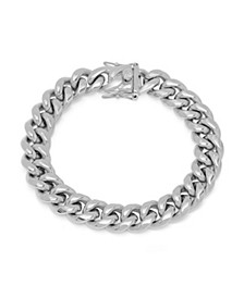 Men's Stainless Steel Miami Cuban Chain Link Style Bracelet with 12mm Box Clasp Bracelet
