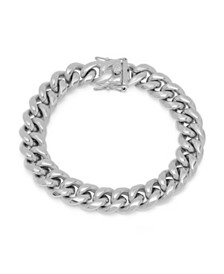 Steeltime Men's Stainless Steel Miami Cuban Chain Link Style Bracelet with 12mm Box Clasp Bracelet