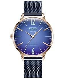 Women's Slim Blue Stainless Steel Mesh Bracelet Watch 36mm