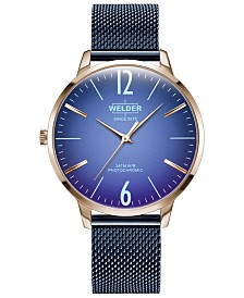 WELDER Women's Slim Blue Stainless Steel Mesh Bracelet Watch 36mm