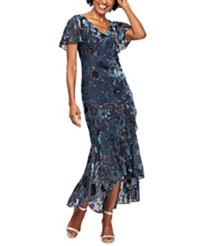 Alex Evenings Printed Burnout-Velvet Dress