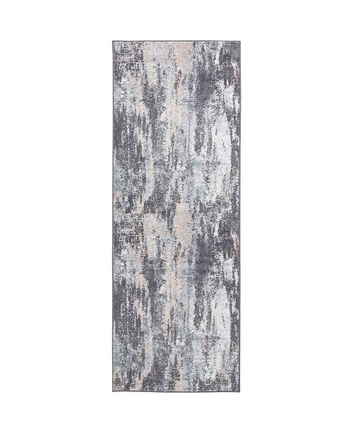 "Global Rug Designs CLOSEOUT! Global Rug Design Cresent CRE03 Gray 2'6"" x 7'2"" Runner Area Rug"