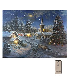 Lumabase Winter Village Light Battery Operated Lighted LED Wall Art
