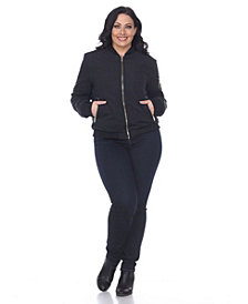 White Mark Plus Size Bomber Jacket