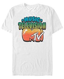 MTV Men's Gradient Bubble Letters Logo Short Sleeve T-Shirt