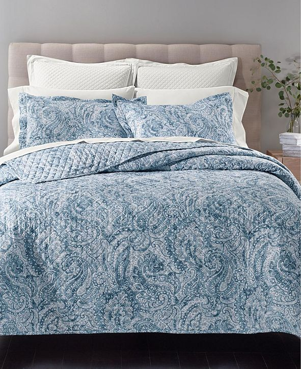 Charter Club Cotton 210-Thread Count 2-Pc. Twin Quilted Printed Twin Coverlet Set, Created for Macy's