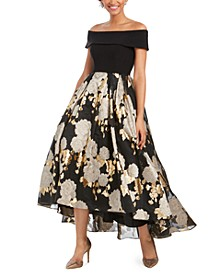 Petite Off-The-Shoulder Printed Gown