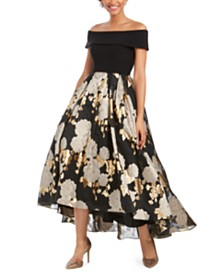 Betsy & Adam Petite Off-The-Shoulder Printed Gown
