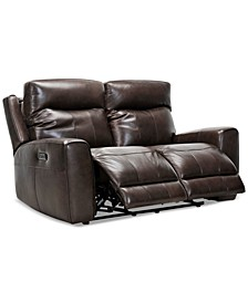 "Bitola 61"" Leather Dual Power Loveseat, Created for Macy's"