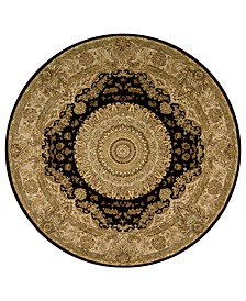 Wool and Silk 2000 2233 Black 4' Round Rug